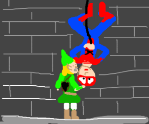 Spiderman wants an upside down kiss from Link