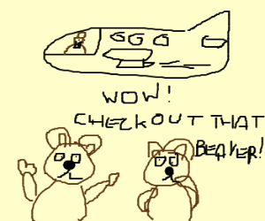 Bears impressed by beaver flying an airplane.