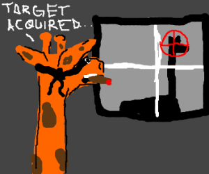 Giraffe looks out window and sees target
