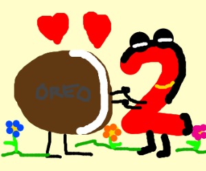 an oreo cookie in love with the number 2