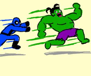 Blue deadpool chasing school girl Hulk.