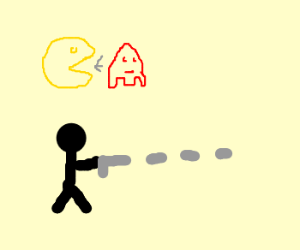 pacman eats red ghost, stick man shoots gun