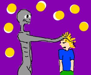 grey alien rubs fingers trough kid's hair
