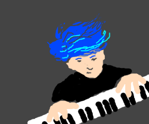 Man with blue hair plays the piano.