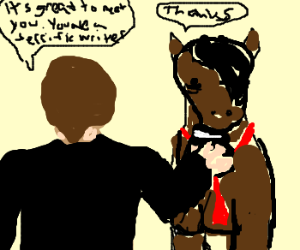 Businessman greets pony like it's no big deal
