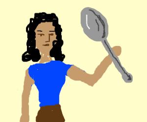 black woman with big spoon
