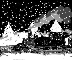 Steam train on a dark, snowy night.