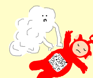 A cloud doing CPR on a dead teletubbies