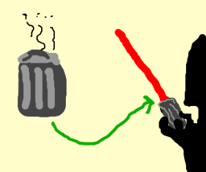 Vader's lightsaber is made from a trash can.