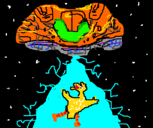 Samus Aran's Gunship abducting Big Bird