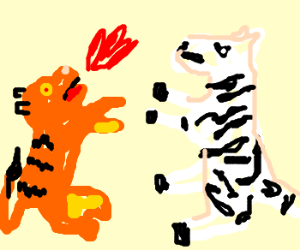 Zebra vs Tiger. Probably from Bloody Roar