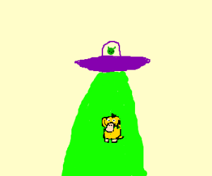 psyduck abducted by purple UFO, is alien meal