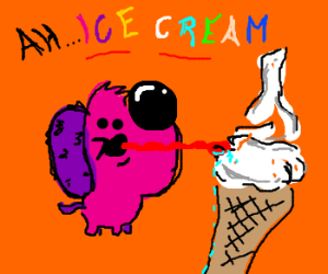 pink dog licks ice cream