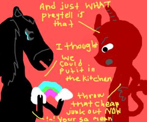 Satan's horse buys a cheap rainbow.