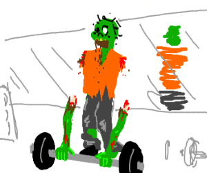 Zombie has a hard time lifting weights