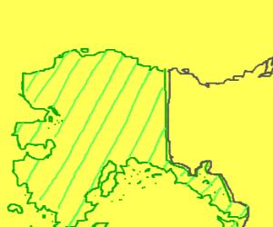 Alaska (in green)