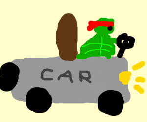 Ninja Turtle driving a car