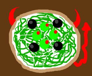 New, improved Devil: green spaghetti w/ olives