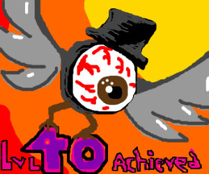 Eyeball with wings and tophat! Congrats on 40!