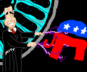 Mitt Romney zaps the GOP elephant