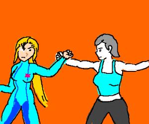 Wii Fit Trainer vs. Zero Suit Samus - Drawception