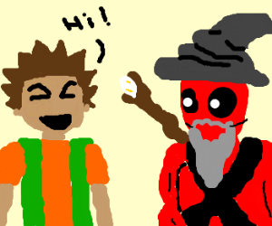 Brock says hi to Deadpool, who is now a wizard