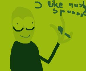 Creepy guy likes rusty spoons