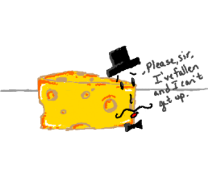 Gentleman cheese on the floor