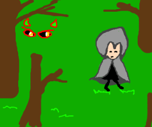 Nearly invisible ogre stalks Grey Riding Hood.