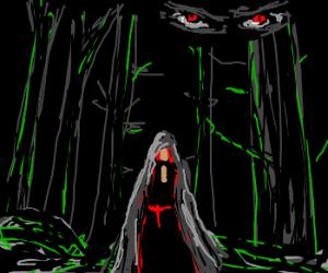 Evil eyes follow Grey Riding Hood.