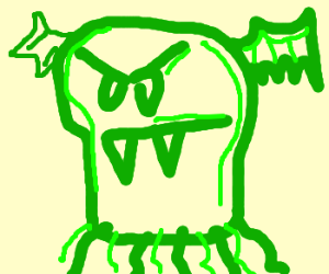 green monster with fangs
