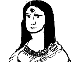 Mona Lisa with three eyes is not amused