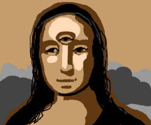 Mona Lisa with a third eye