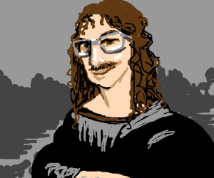 Weird Al crossed with the Mona Lisa
