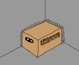 Solid Snake hides in a box in a corner