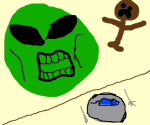 Giant alien pea eats human and blue mouse