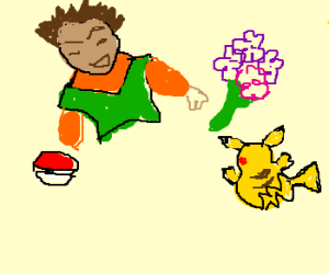 Roark is Brock, gives Pikachu flowers
