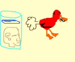 Red duck laughs n farts in floating heads face