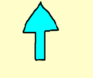 Black-outlined cyan arrow pointing up