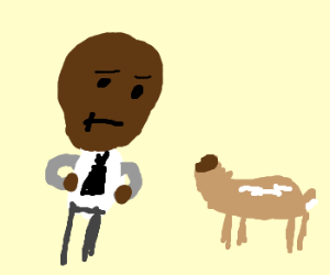 Black guy stares at headless deer