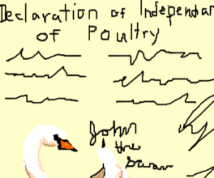 John the Swan signs the Decl. Ind. of Poultry.