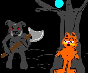 Red eyed boar wielding an axe hunts Garfield.
