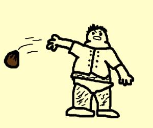 Old fat creepy man throwing a brown bag