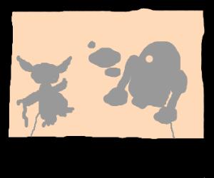 yoda shadow puppets