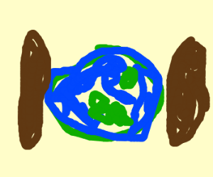 earth chrushed between a giant hotdog
