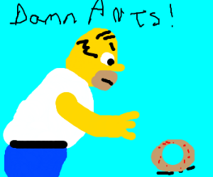 Angry Homer chases ants for stealing his donut