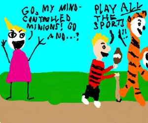 Evil Calvin and Hobbes play all the sports