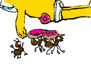 Ants running off with Homer Simpson's donut.
