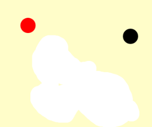 red dot and black dot and white splotch