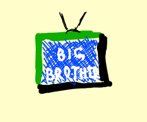 "watching ""big brother"" on partially green tv"